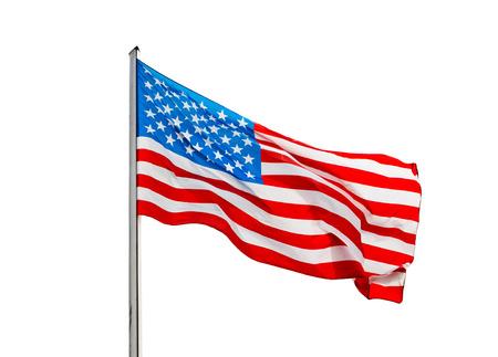 bandera blanca: La bandera americana en el viento sobre un fondo blanco Foto de archivo