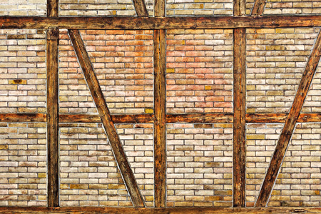 half timbered house: The Brick wall of the half timbered house Stock Photo