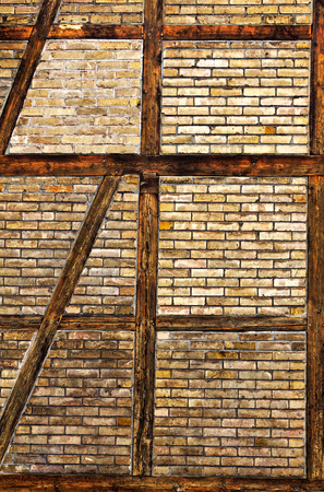 half timbered house: Brick wall of the half timbered house Stock Photo