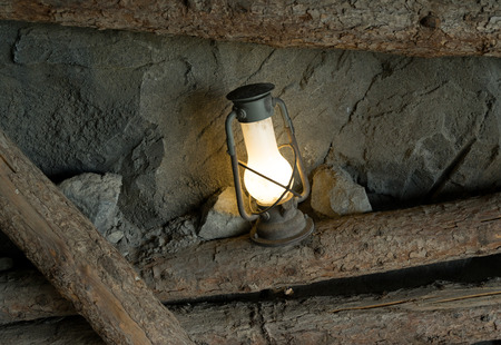 oil lamp: Oil lamp in the old mine