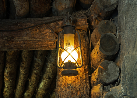 oil lamp: The Oil lamp in the old mine