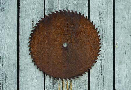 circular saw: The Old rusty circular saw on wooden wall