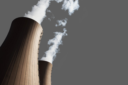npp: Cooling towers of nuclear power plant on gray backgrond,isolated Stock Photo