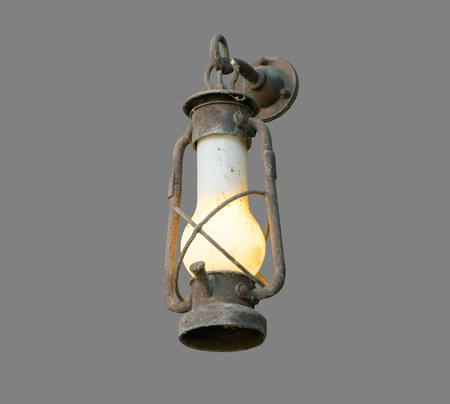 oil lamp: The Oil lamp of the old mine on gray background, isolated