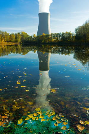 npp: Nuclear power plant next to the pond and industrial waste water Stock Photo