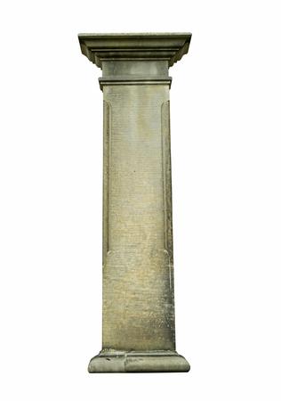 colonne de pierre sur un fond blanc, isolé