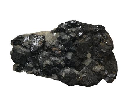 sphalerite: Sphalerite ore with Quartz on the white background