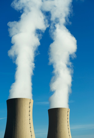 npp: Nuclear power plant on the sky background in sunlight Stock Photo