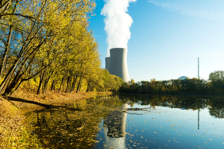 npp: Nuclear power plant next the pond and its reflection in the water Stock Photo
