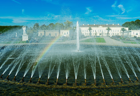 jet stream: The fountain in the city park of the city of Hanover, Germany