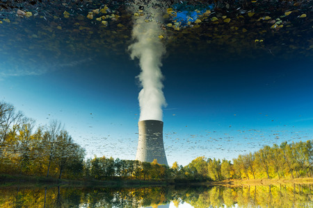 nuclear reactor: Reflection in the water of the nuclear power plant Stock Photo