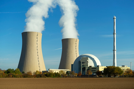 npp: Nuclear power plant on the sky background in the sunlight