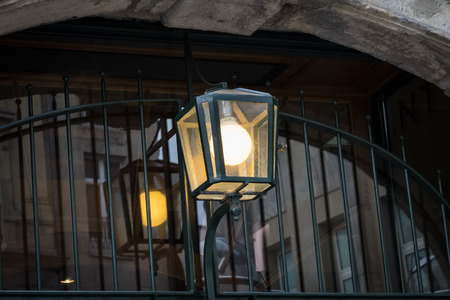 Lantern of the building in the courtyard in Cologne Stock Photo