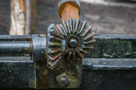 The pinion gear with wheel of an old mechanical  device