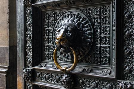 door knocker: Old door with lion door knocker of  Cologne Cathedral