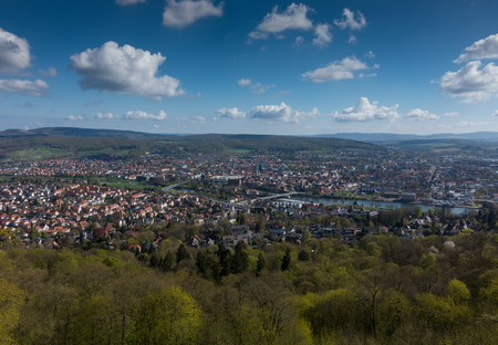 viewpoint: City Hamelin from aerial viewpoint ,Germany Stock Photo