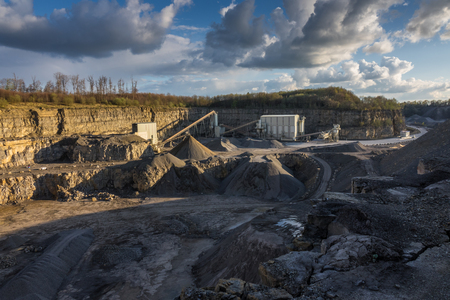 macadam: Crushed stone factory in a quarry career