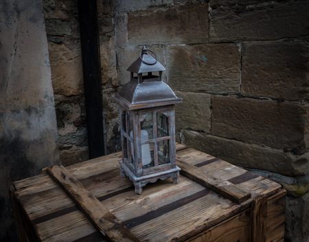 Old lantern in the ancient European city Stock Photo