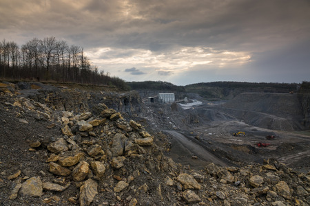 pit fall: Crushed stone factory in a quarry career