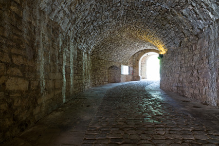 inwardly: Dark stone streets  in an old town Stock Photo