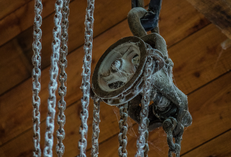 The old dusty and rusty winch in  room