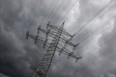 sulight: Electricity pylon against the sky in sunlight .