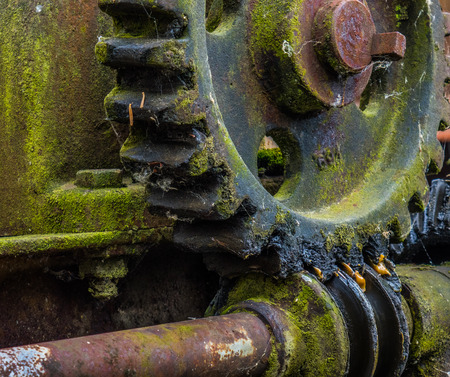 Old and rusty gear in the sunlight . Stock Photo