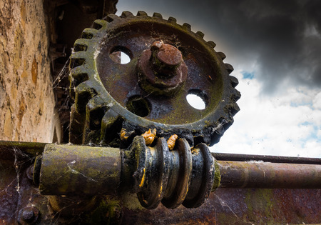 Old and rusty gear in the sunlight