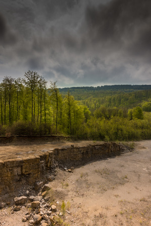 The landscape in an old and abandoned quarry