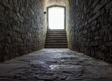 inwardly: Dark stone streets  in an old town . Stock Photo