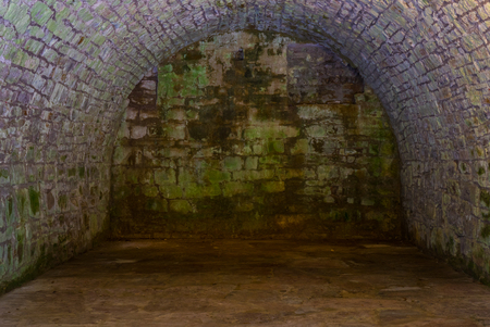 The gray und old stone wall and floor . Stock Photo