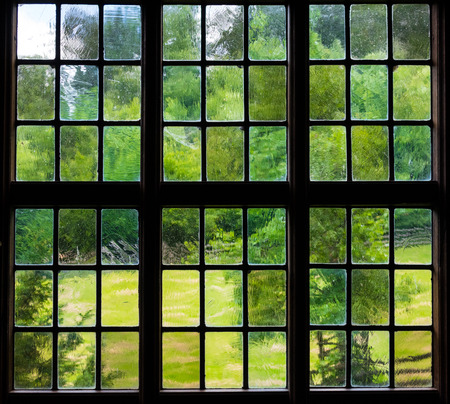 lattice window: The wall and window of an old farmhouse inside with grape leaves .