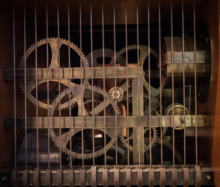 grille: The gears of a old and vintage machine.