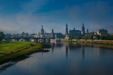 elba: The  bridge on river of city Dresden, Germany. Stock Photo