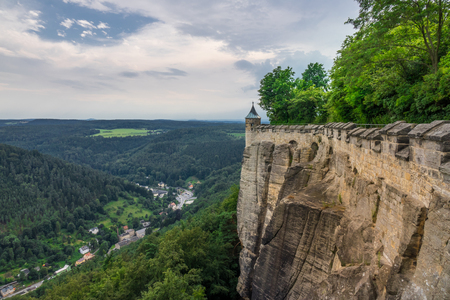 The panorama of landscape in Saxon Switzerland, Germany. Stock Photo - 77909901