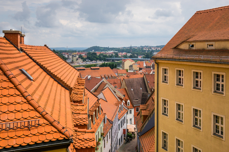 The panorama of city Meissen , Germany.