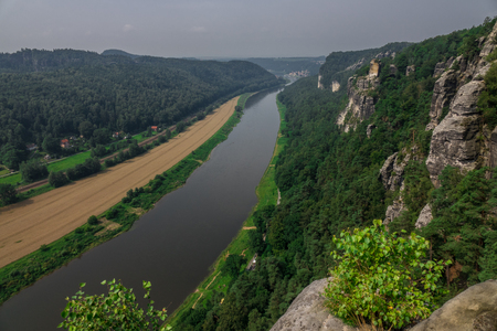 The landscape of Elbe Sandstone Mountains in Germany.
