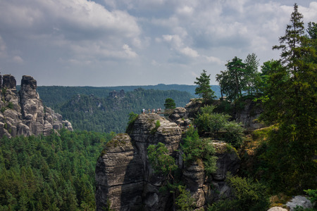 elba: The landscape of Elbe Sandstone Mountains in Germany.