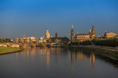 The old buildings in city Dresden against sky.