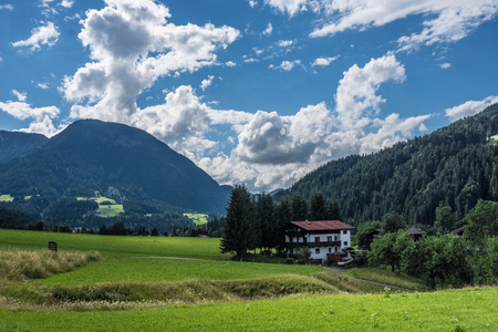 The village in moutains of Tyrol, Austria . Stock Photo