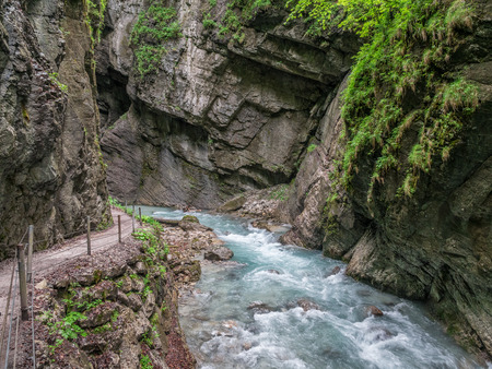 The river in Partnach Gorge of  mountains in Bavaria, Germany . Stock Photo