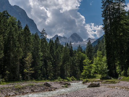 The  river in mountains of Alps in Tyrol, Bavaria .