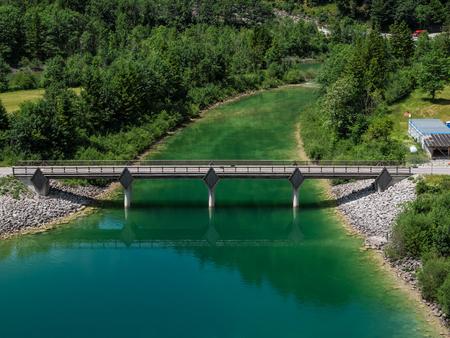 The mountain lake  Sylvenstein lake in Bavaria, Germany .