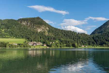 The mountain lake Thiersee in Tyrol, Austria .