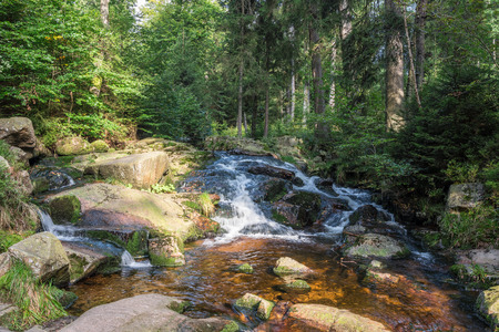 bode: The waterfall on river in Harz, Germany . Stock Photo