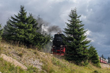 The old  locomotive in forest in Harz, Germany . Banque d'images