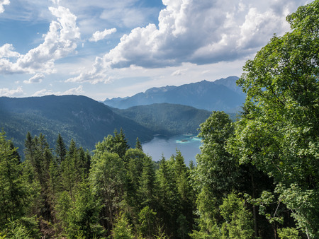 The mountain lake Eibsee in Tyrol, Germany .