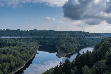 The bridge across  Rappbode Dam lake  in Harz, Germany .