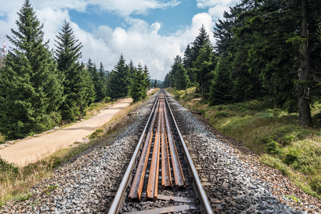 brocken: The railroad in forest of Harz, Germany  . Stock Photo