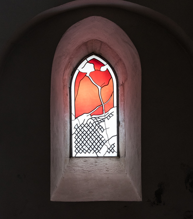 The old and ancient window in dark room . Stockfoto